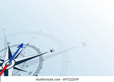 Compass northeast. Compass on a blue background. Compass illustrations can be used as background