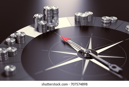 Compass over black background with needle pointing the biggest pile of money, Concept of making profits and good investment advice or wealth management. 3D illustration.