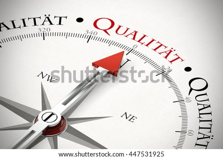 compass pointing german word qualitaet qualityのイラスト素材