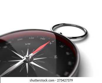 Compass pointing the north over white background suitable for bottom left angle of a page. Black dial and red needle