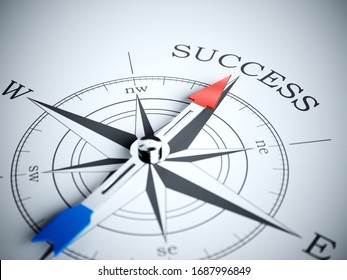 Compass pointing the success direction. 3d rendering illustration