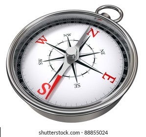 compass red, white and chrome on white background