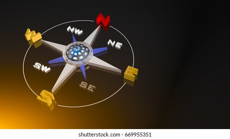 compass Rose  in 3D illustration