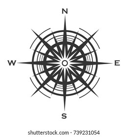 Compass rose icon isolated on white background. Raster Wind rose  illustration.