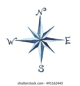 Compass Rose Nautical  Watercolor Illustration Hand Painted Isolated Sea Element Navy Blue