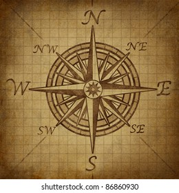 Compass rose with old vintage grunge texture representing a cartography positioning direction symbol for navigation and setting a chart for exploration to the north south east or west.