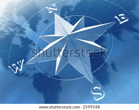 Compass Rose On Background World Map Stock Illustration Royalty