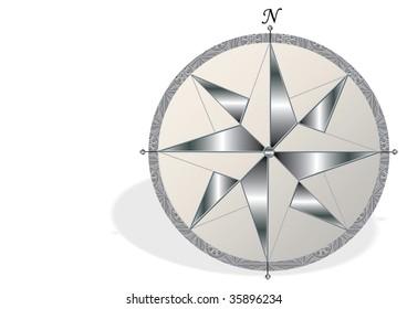 compass, silver button