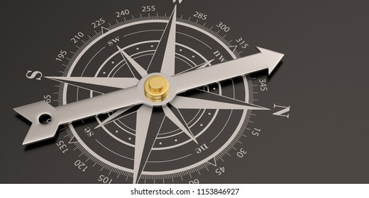 Compass with steel needle on black background 3D illustration.