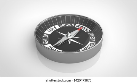 compass success angled white background 3d rendering
