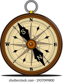 Compass with windrose isolated, retro design
