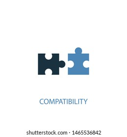 compatibility concept 2 colored icon. Simple blue element illustration. compatibility concept symbol design. Can be used for web and mobile UI/UX
