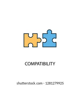 compatibility concept 2 colored line icon. Simple yellow and blue element illustration. compatibility concept outline symbol design