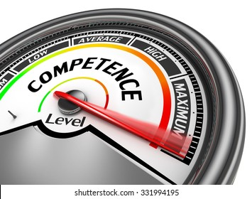 Competence level conceptual meter to maximum, isolated on white background