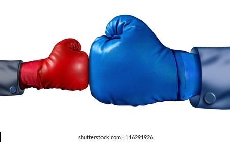 Competition and adversity and fighting the establishment as a new small business against a huge established corporation as a smaller boxing glove versus a huge one overcoming challenges with courage.
