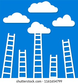 competition concept, clouds with ladders, stock illustration