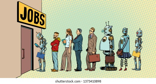 competition of people and robots for jobs. technological revolution. Unemployment in the digital world. Pop art retro  illustration