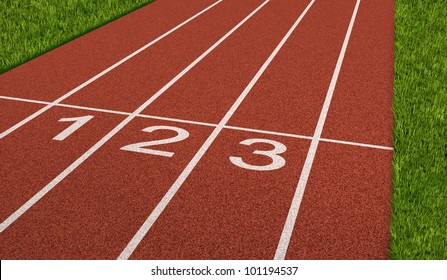 Competition sport concept at the starting line as a business symbol as the saying ready set go for the beginnings of a planned strategy for success as a track and field stadium background.