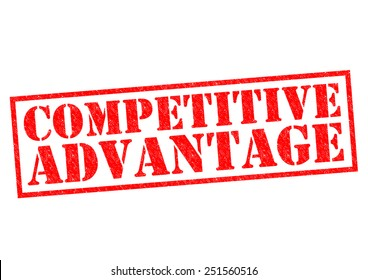 COMPETITIVE ADVANTAGE red Rubber Stamp over a white background.