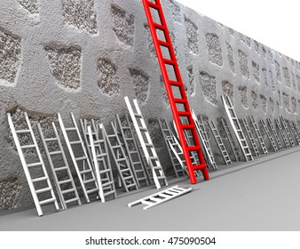 competitive advantage , red white ladder, wall, 3d rendering