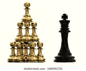 competitive advantage teamwork colaboration chess golden pawns and black  king isolated - 3d rendering