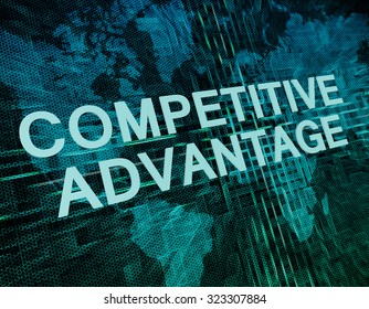 Competitive Advantage text concept on green digital world map background