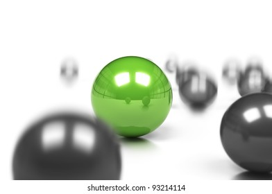 competitive edge and business difference concept, many grey balls and one green sphere onto a white background with movement effect and blur.