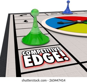 Competitive Edge words on a board game to illustrate a special advantage of one player winning a competition
