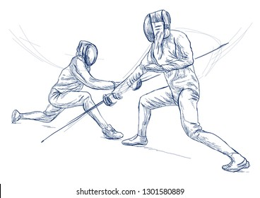 Competitive FENCING - Two sportmen, athletes in a match. An hand drawn illustration. Freehand sketching, drawing of an sporting event. Line art in blue colour isolated on white.