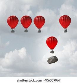 Competitive struggle and business disadvantage or disability concept as a group of 3D illustration hot air balloons racing to the top but a laggard attached to a heavy rock boulder struggling.