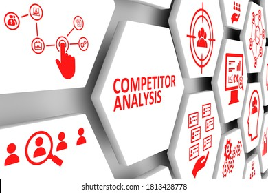 COMPETITOR ANALYSIS concept cell background 3d illustration