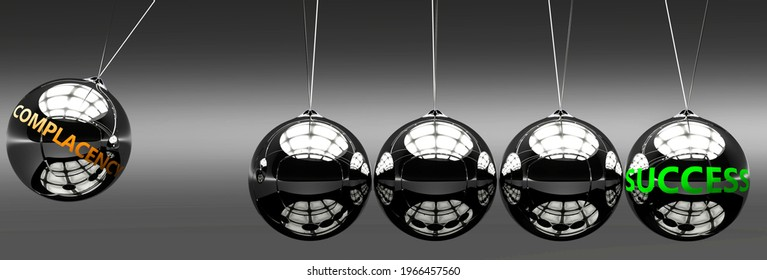 Complacency and success - the idea that Complacency helps to achieve success and happiness in business, work and life symbolized by English word Complacency and a newton cradle, 3d illustration
