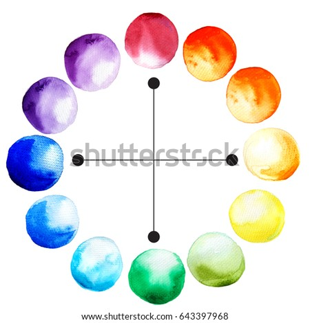 complementary colors chart opposing watercolor drops stock
