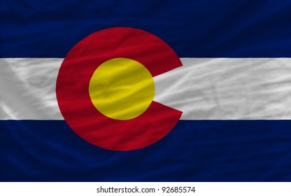 complete flag of us state of colorado covers whole frame, waved, crunched and very natural looking. It is perfect for background