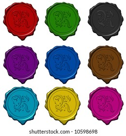 Complete floral alphabet letters on colored wax seals