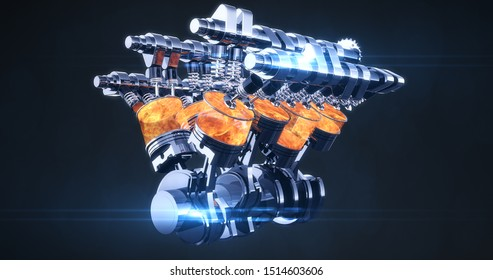 Complete Rotating Fuel Injected V8 Engine With Explosions. Pistons And Other Mechanical Parts - 3D Illustration Render