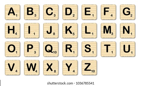 The complete set of letters in a set of scrabble