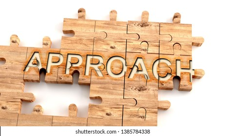 Complex and confusing approach: learn complicated, hard and difficult concept of approach,pictured as pieces of a wooden jigsaw puzzle creating a whole, completed word, 3d illustration