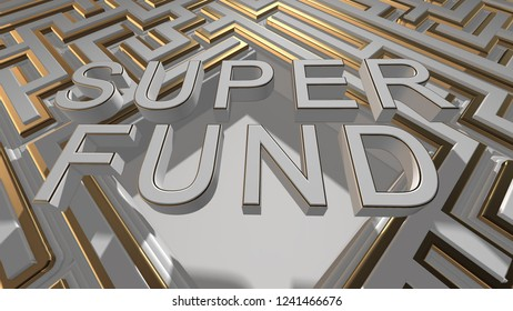 Complex financial maze associated with Superannuation or super fund retirement income - 3D illustration rendering