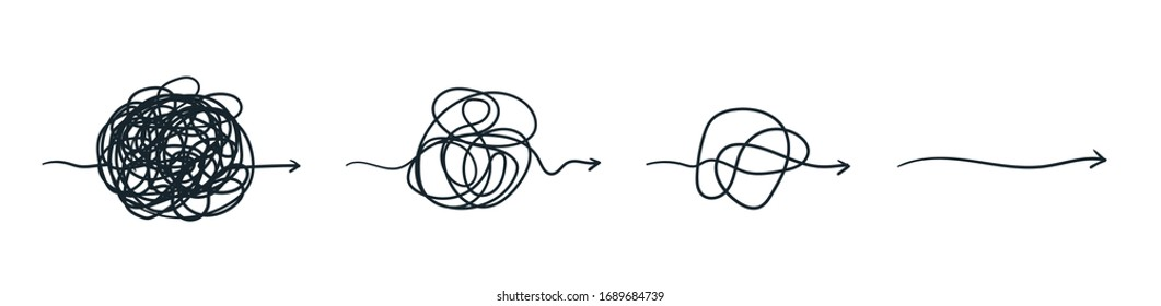 Complex line. Complicated way. Messy ball concept. Loading idea process.