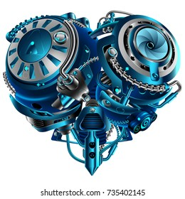 Complex mechanical heart vintage style steam punk. Mechanism in the shape of a heart. Technological concept. A symbol of love.