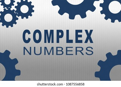 COMPLEX NUMBERS sign concept illustration with dark blue gear wheel figures on gray gradient background