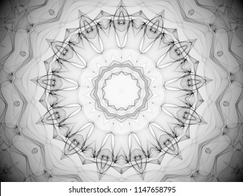 complex round black and white arabesque kaleidoscope decorative abstract design with intricate symmetry