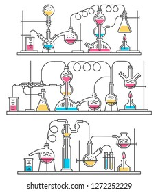 Complex Schemes Chemical reactions from laboratory glassware. Contour line style.
