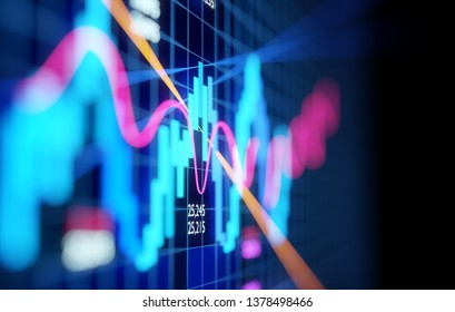 Complex Stock Market Candlestick Chart. Business economy and financial background. 3D illustration.
