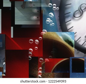 Complex Surreal Abstract Art. The Layers of Existence. 3D rendering