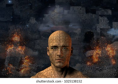 Complex surreal painting. Ancient ship on a sand dune. Burning figure of man in lotus pose. Man's head with puzzle pattern. 3D rendering