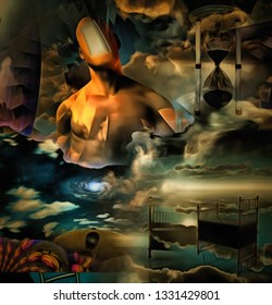Complex surreal painting. Infinite dreams. Man with open door instead of his face. Hourglass and bed in the sky. 3D rendering