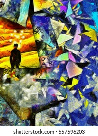 Complex surreal painting. Man in suit and bowler hat stands in green field. Light bulbs around his head symbolizes ideas or thoughts. Abstract background with colorful geometric elements.