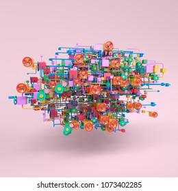 Complex workflow network diagram, 3D rendering